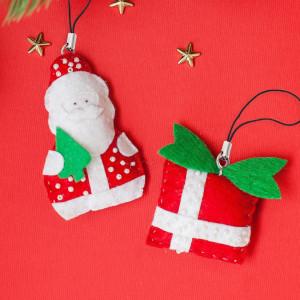 Новогодние игрушки, брелоки из фетра Дед Мороз #12219