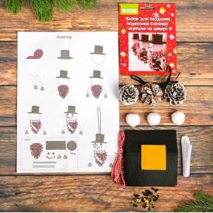 Набор для создания игрушки из шишек Снеговички #12220