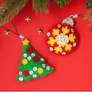 Новогодняя игрушка, брелок из фетра Ёлочка и шар #12221