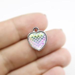 Подвеска сердце АВ с блеском 26х24 серебрянная #5249