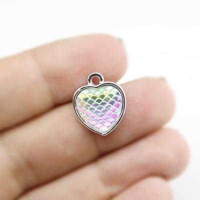 Подвеска сердце АВ с блеском 26х24 серебрянная
