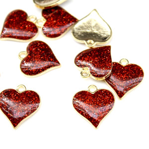Повеска Бордовое сердце 16х17 #5280