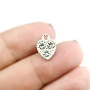 Подвеска сердце в стразах серебрянное #5283