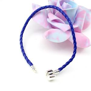Кожаный браслет 20х3 Синий #1425