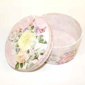 Коробка Круглая Цветы 25х11 #10542