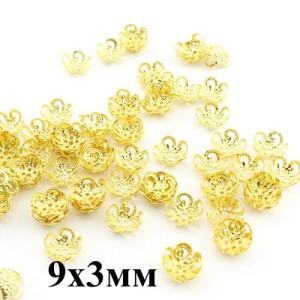 Шапочки 9х3 мм, 1 гр (14 шт) Золото #3811
