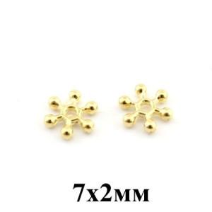 Бусины-разделители 7х2 мм 1 гр (6 шт) #3814