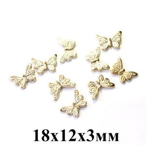 Мет. бусины бабочка 18х12х3, 1шт Золото #5333