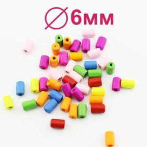 Бусины 10х6 D=6 мм 1 гр (6-7 шт) #1881
