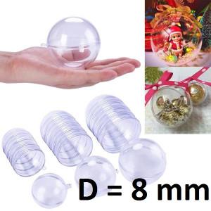 Полый прозрачный шар D=80мм, 1шт #1067