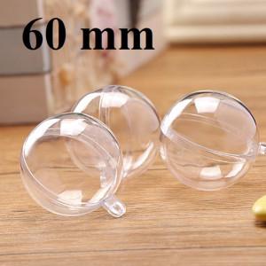 Полый прозрачный шар D=60мм, 1шт #1291