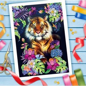 Вышивка лентами Тигр, 25х35 см #5944