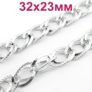 Цепь двойная 32х23х4 мм серебряная 50 см #2588