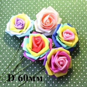 Цветы Радужные на веточке D=60 МИКС #5510
