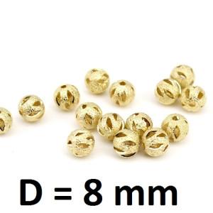 Бусины Золотые полые D=8, 1шт #2826