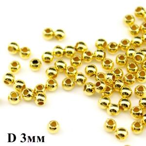 Бусины-бисер D=3 мм 1 гр (75 шт) Золото #6024
