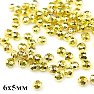 Бусины Пласт с огранкой D=6х5, 1гр (10шт) Золотые #6026