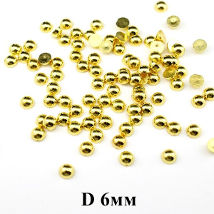 Полубусины D=6, 1гр (14 шт) Золото #6073