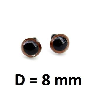 Глаза винтовые D=8мм Карие #2092