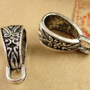 Держатель для кулона, Бэйл 10х18мм Серебро #1774