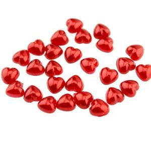 Полубусины Сердце Красные 8х8, 1гр (8шт) #4280 (уп: 16гр.)