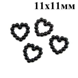 Сердце из жемчужин 11х11 Черное #4342