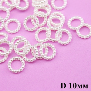 Колечки из жемчужин D=10мм, 1шт Кремовые #6126