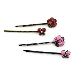 Зажим для волос (2 шт Бабочка и цветок) #3310