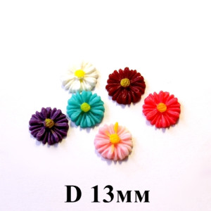 Кабошон Цветок D=13 МИКС 1шт #5433