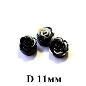 Кабошон Цветок D=11 Черно-белй, 1шт #5435