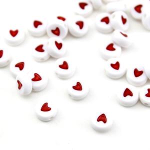 Бусины Сердечки 7х4, 1шт Красные #6128