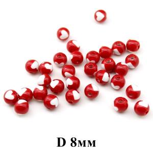 Бусины с сердечком D=8мм, 1шт Красные #1247