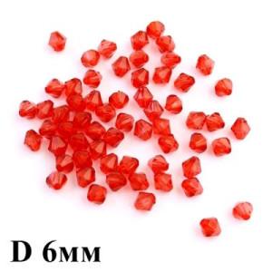 Бусины Ромб D=6 ,1гр (14шт) Красные #5777