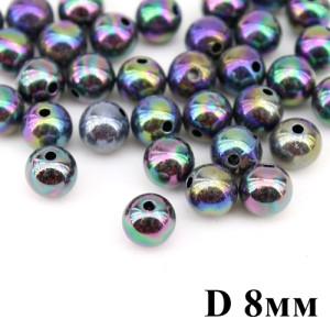 Бусины АВ гладкие D=8, 1гр (3шт) Т-фиолетовые #4149