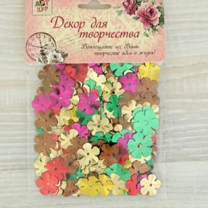 Пайетки Разноцветные цветочки 15х15мм уп 10гр #10219