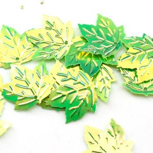 Пайетки Кленовый лист 22х20  зелённые, 10гр #11337