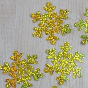 Пайетки Снежинки 65мм 10гр (SF-1138) золотые #11957