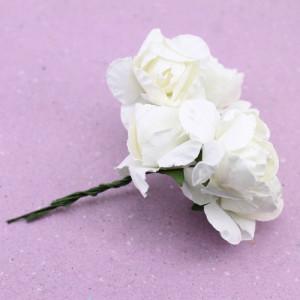 Связка из бумажных цветов 6шт Белые #11058