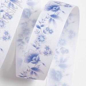 Лента репсовая 25мм Синие цветы, 1метр #1108