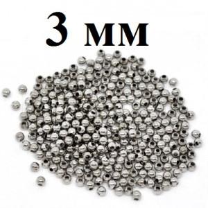 Кримпы-шарики Стоплеры D=3 мм 1 гр (25 шт) #3821 Серебро