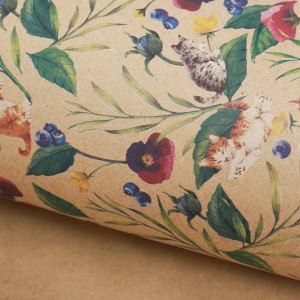 Бумага упаковочная крафтовая «Котята», 50х70 см #10722