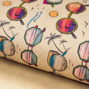 Бумага упаковочная крафтовая «Солнечные очки», 50х70 #11236
