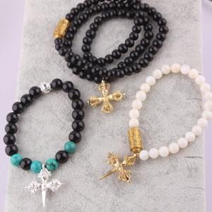 Браслет Крест #5959 Золотой-белый