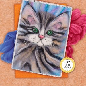 Живопись шерстью Котёнок #12207